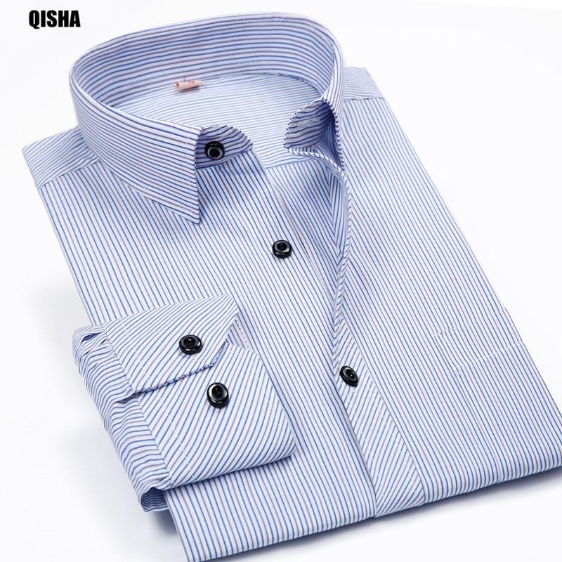 2017 Más el tamaño 8XL Camisas a rayas de manga larga de los hombres Casual Primavera Otoño 6XL 7XL Tamaño grande Clásico Calidad Hombres Ropa 5XL QiSha