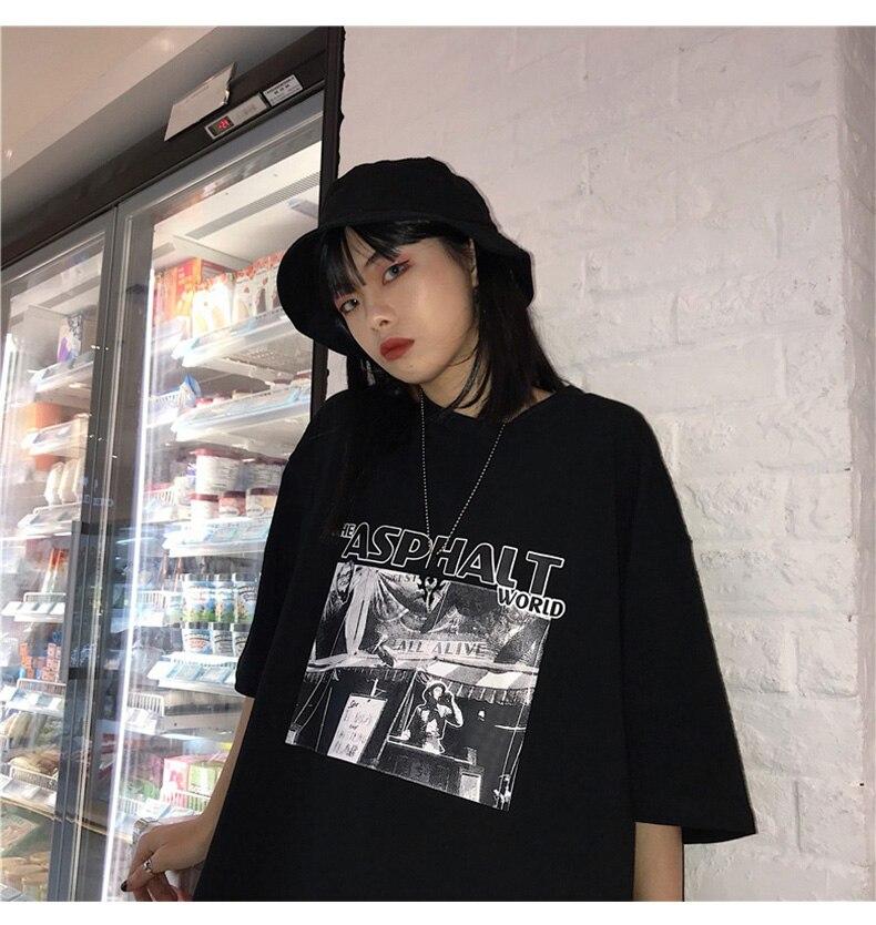 Ulzzang mulheres do hip hop t feminino camisa top tee camisas harajuku camiseta impressão Moda 90s Oversize t-shirt streetwear curto manga