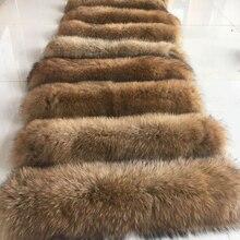Натуральный меховой воротник, натуральный мех енота, женские шарфы, зимнее пальто, женская шапка, длинный теплый шарф из натурального меха, большой размер
