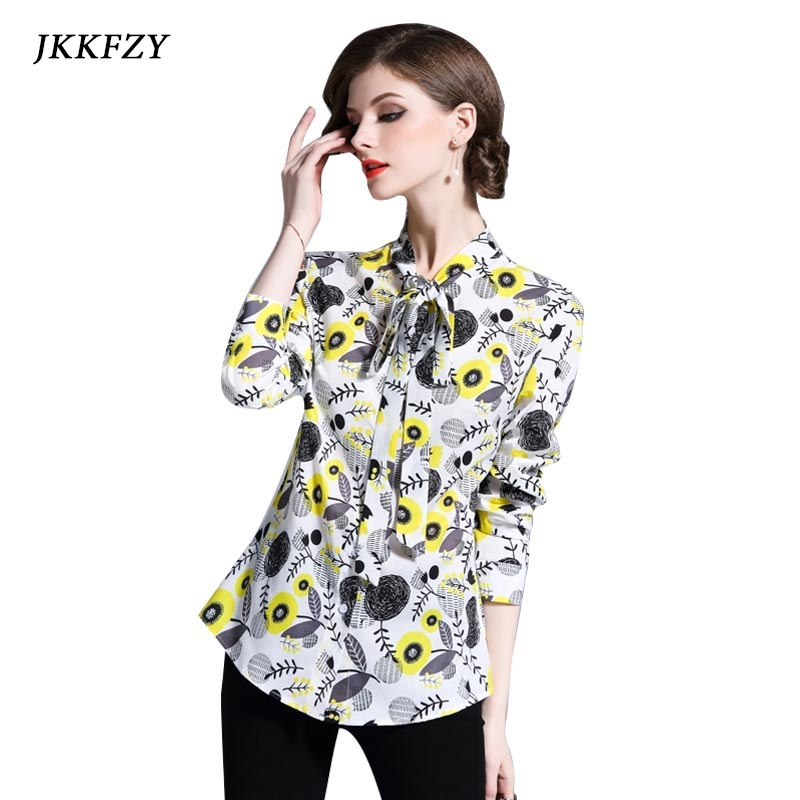 Women 2018 Autumn Floral Print Shirt Turn-down Collar casual Long Sleeve Blouse Bow Clothes Plus Size Tops