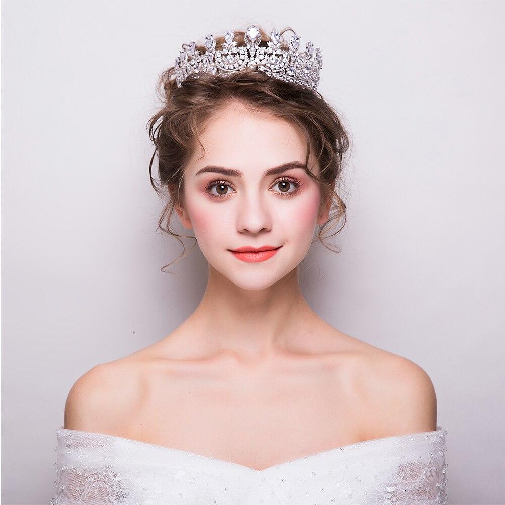 classic cubic zirconia classic big royal wedding bridal gold color