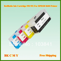 Free Shipping 5sets Lot Empty Refill 950 951 BK C M Y Refillable Ink Cartridge With