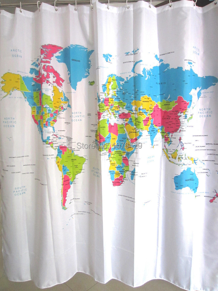 US $5.19 |Shower Curtain World Map Pattern Creative Shower Curtain Bathroom  Waterproof Polyester Fabric 72 Inch +12 Hooks-in Shower Curtains from Home  ...