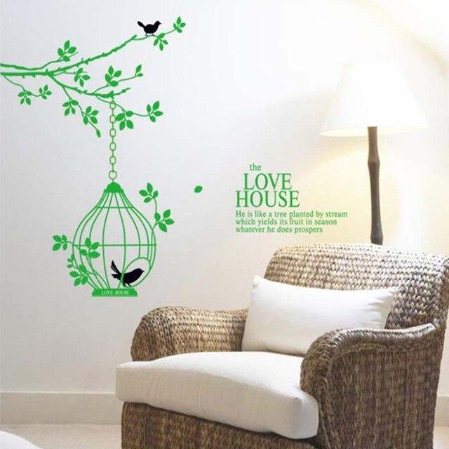 Green Tree Branch Birdcage Birds Wall Sticker Home Decor Decals Vinyl Art  Stickers Wedding Decoration Shop