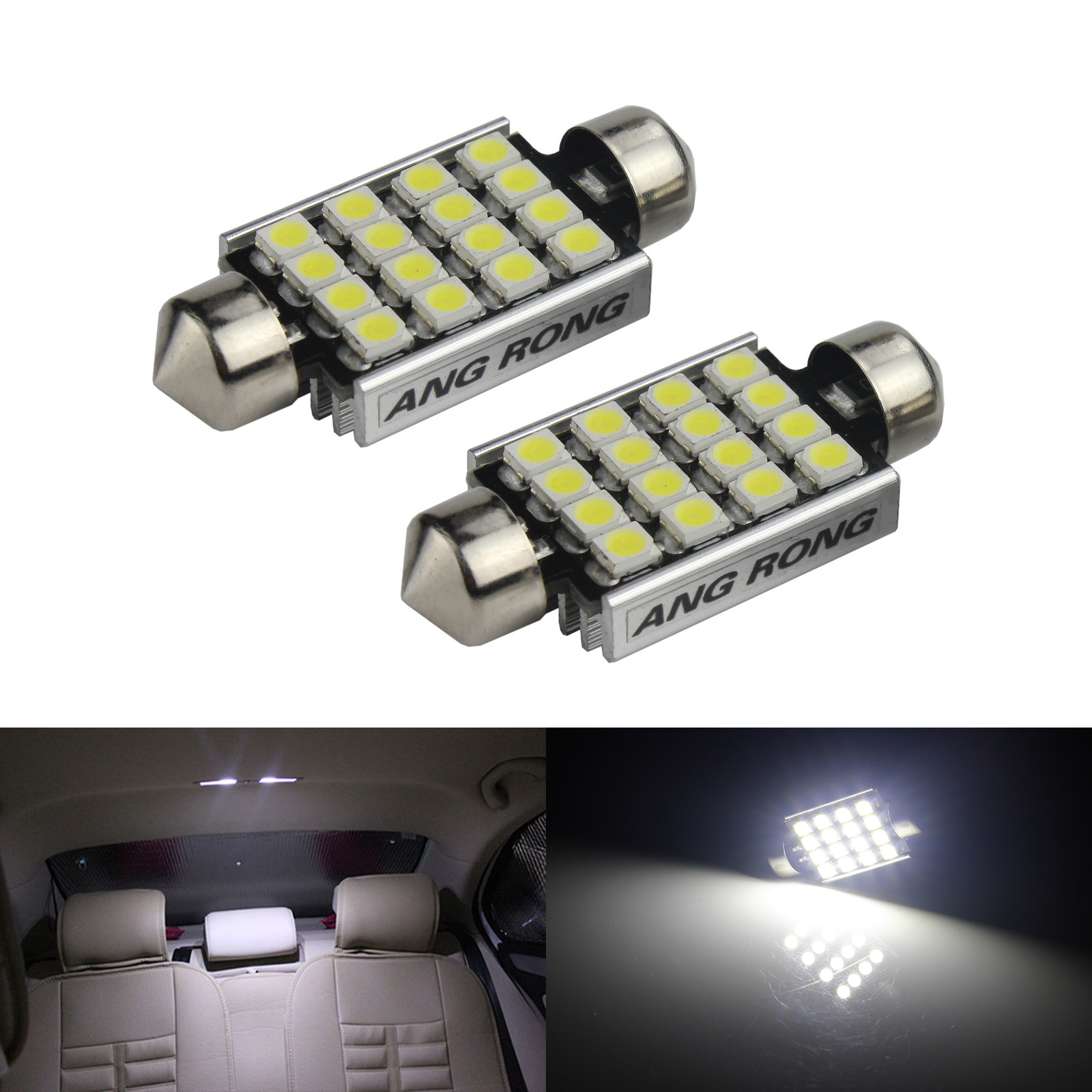 ANGRONG 2x Canbus White <font><b>16</b></font> <font><b>SMD</b></font> LED C5W 239 272 Festoon Bulb REG Number Plate Light For BMW image