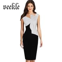 VEEKLE שחור נשים הטוניקה Bow בחזה ללא שרוולים טלאי משרד שמלות הקיצית שמלת קיץ V צוואר Bodycon הדוקים הדפסת פרחים