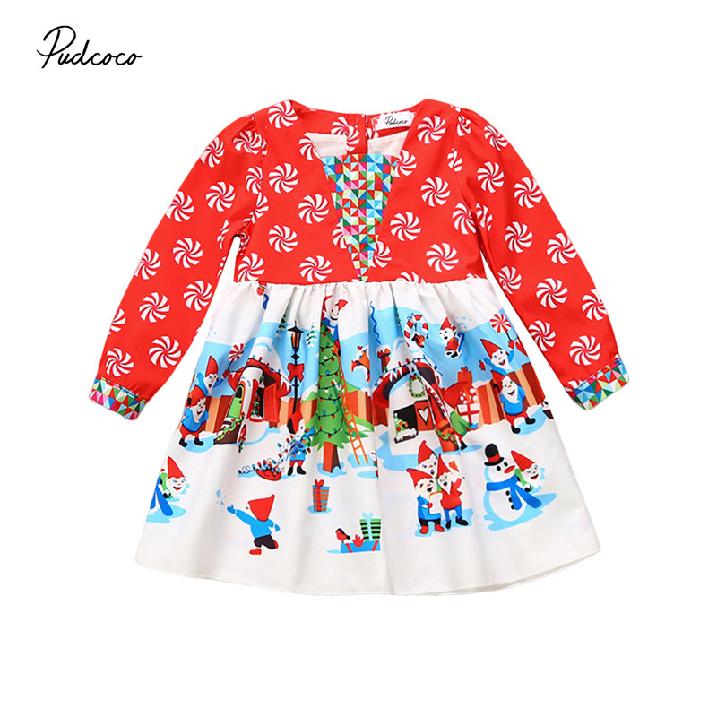 Toddler Baby Infant Girls Dress Clothes Kids Children Santa Snowman Christmas Xmas Long Sleeve Red Autumn Dresses Girl Clothing new 2017 baby girls ruffle sweater dress kids long sleeve princess party christmas dresses autumn toddler girl children clothes