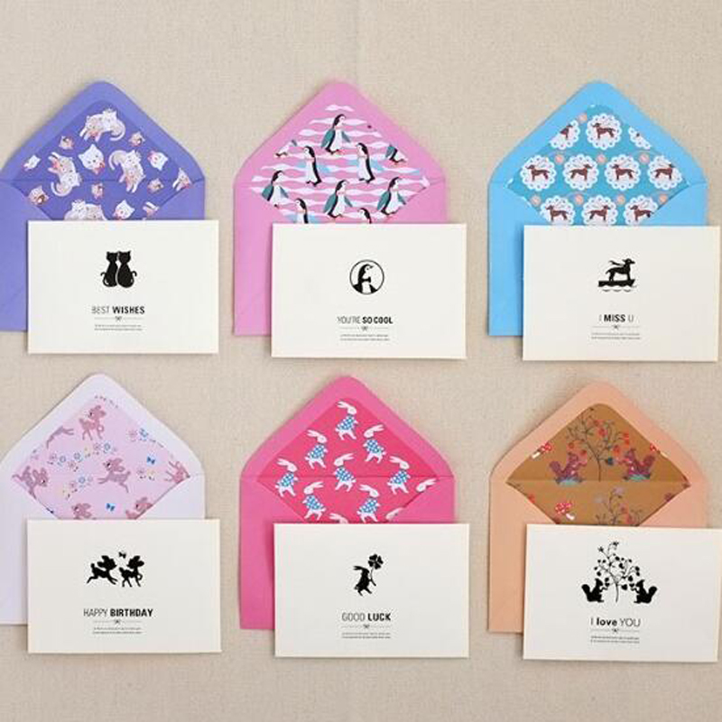 30 pieceslotcreative korean small gift message greeting cards 30 pieceslotcreative korean small gift message greeting cards birthday valentine silhouette greeting with colorful envelope in cards invitations from m4hsunfo