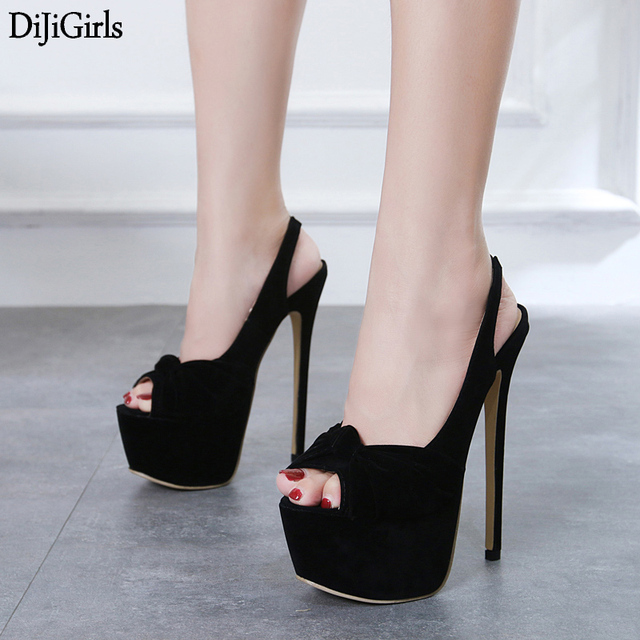 24c2dd0b95f 16cm High Heels Women Slingback Fashion Black Stiletto High-Heeled Platform  Pumps Sexy Peep Toe