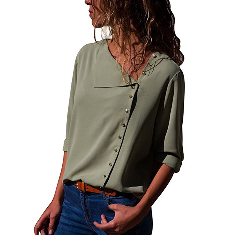 9 Color 6 Size Blouse 2018 Irregular Skew Collar Button Women Blouse Elegant Office Ladies Solid Shirt Casual Feminina Tops