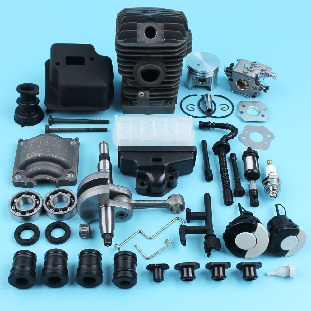 все цены на 42.5MM Cylinder Piston Crankshaft Muffler Carburetor Kit For STIHL 025 MS250 023 MS230 Chainsaw w/ Bearing AV Buffer Air Filter онлайн