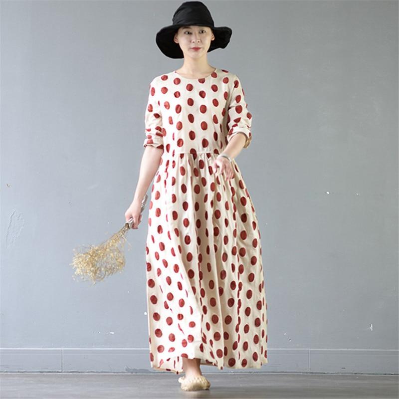 SCUWLINEN 2017 Women Spring Summer Dress Casual Classic Dot Wrist Long Maxi Dress A-line Cotton Party Dress Vestidos S374
