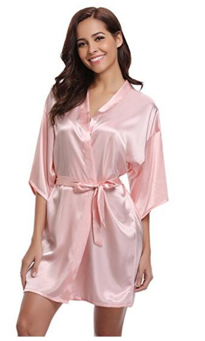 Kimono Robe Short Bride-Bridesmaid-Robe Peignoir Satin Wedding Women Silk Femme Fashion