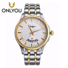 ONLYOU Watch Golden Man Wristwatch Luxury Brand Watch Date Display 5Bar Waterproof Women Watches Military Relogio Masculino
