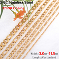 Lenght customized 3-11.5mm wide Gold plated 316L stainless steel Figaro cuban link chain necklaces women&men fashion jewelry