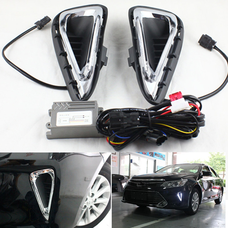 FSYLX led drl daytime running light for Toyota Camry xenon white LED DRL fog lamp light bulb for Camry 2014-2016 h4 30w canbus cree chips led xenon warm white 4500k pure white 6000k fog light daytime running bulb lamp