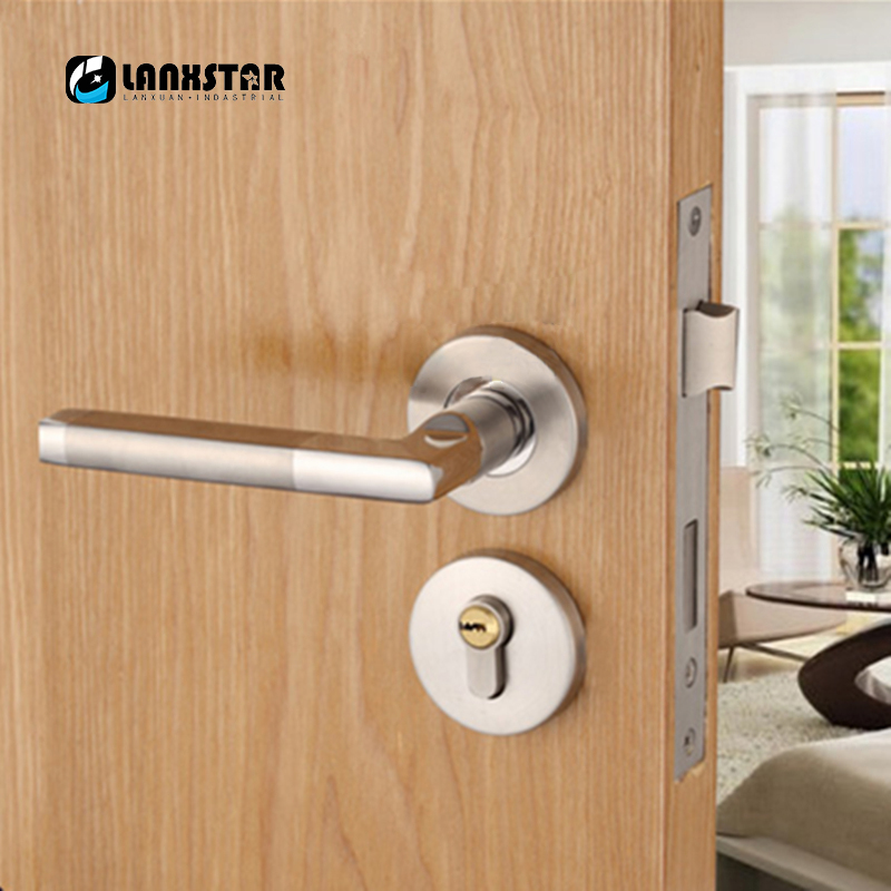 Stainless Steel Wire Drawing Interior Door Handle Locks Wood door ...