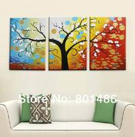 Colorful Oil Paintings Tree Branches Handpainted Wall Art Canvas 3 Panels For Modern Decoration