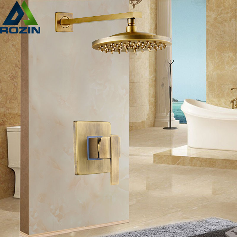 Antique Brass Wall Mounted Shower Faucet Sets 8 Brass Rain Shower