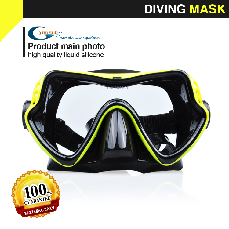 100% Hot Sale Diving Mask + Dry Snorkel Set Dykning Produkt Udstyr / Silikondykning Maske / Svømmemask Goggle Diving (Gul)