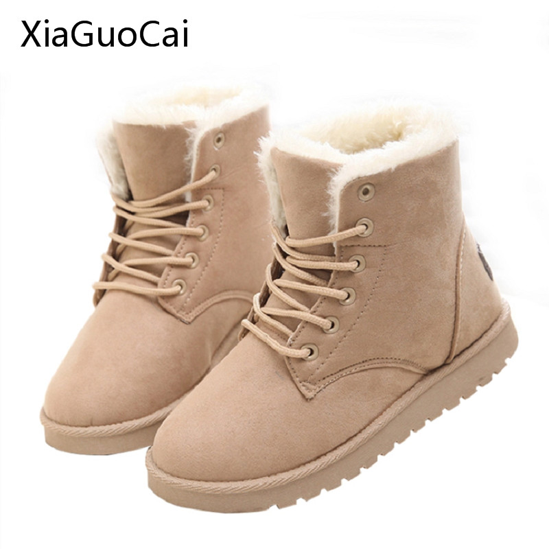 Women Brand Winter Boots Warm Suede Fashion Lace Up Flat Boots High Quality Cheap Women Snow Boots With Fur x708 high heels
