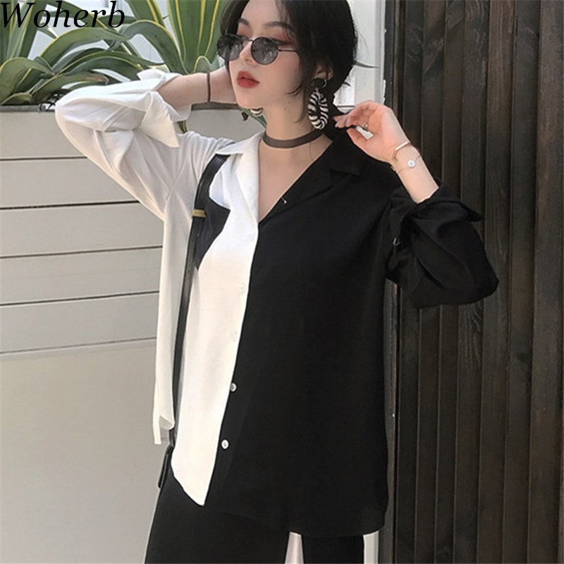 Woherb Korean 2019 Summer Harajuku Women Tops Contrast   Blouses   Black White Patchwork   Shirt   Elegant Lady Top Chic Blusas 74820