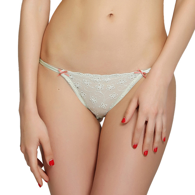 acbd3833ff6 Women s Sexy Transparent Underwear Girls Allure G String Light Green See  Through Panties