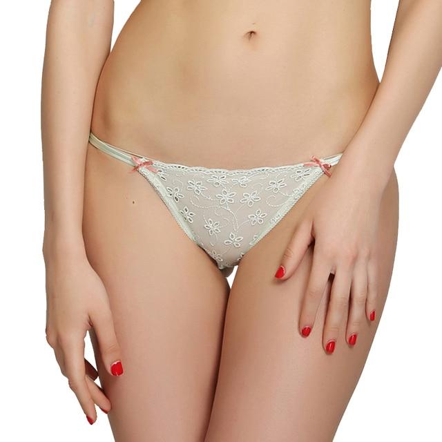 Womens Sexy Transparent Underwear Girls Allure G String Light Green See Through Panties