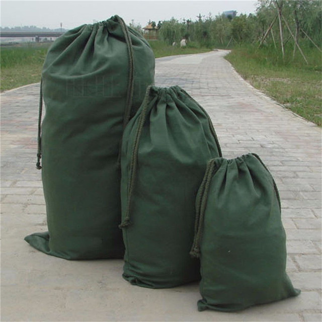 1 x army green drawstring large bag moving pouch clothes toy storage