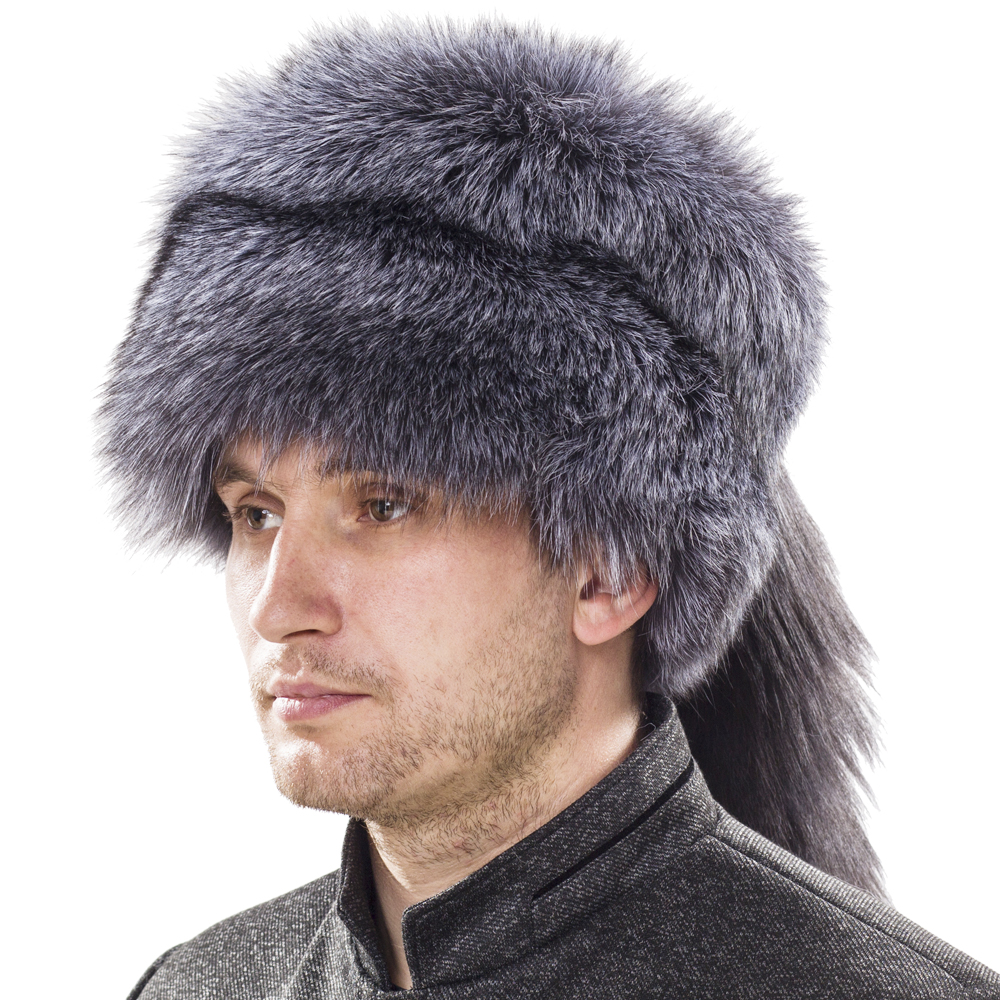 YECHNE Russian Mongolian Natural Silver Fox Fur Skullies Hat With Whole Fox Tail Winter Soft Beanies Hats