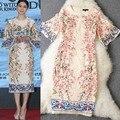 Mulheres nova chegada do o neck metade flare mangas apliques flores impresso hetero elegante runway vestidos