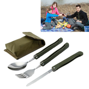 Stainless Steel Portable Folding Cutlery Set Fork Knife With Army Green Pouch Survival Camping Bag Outdoor Cutlery Container