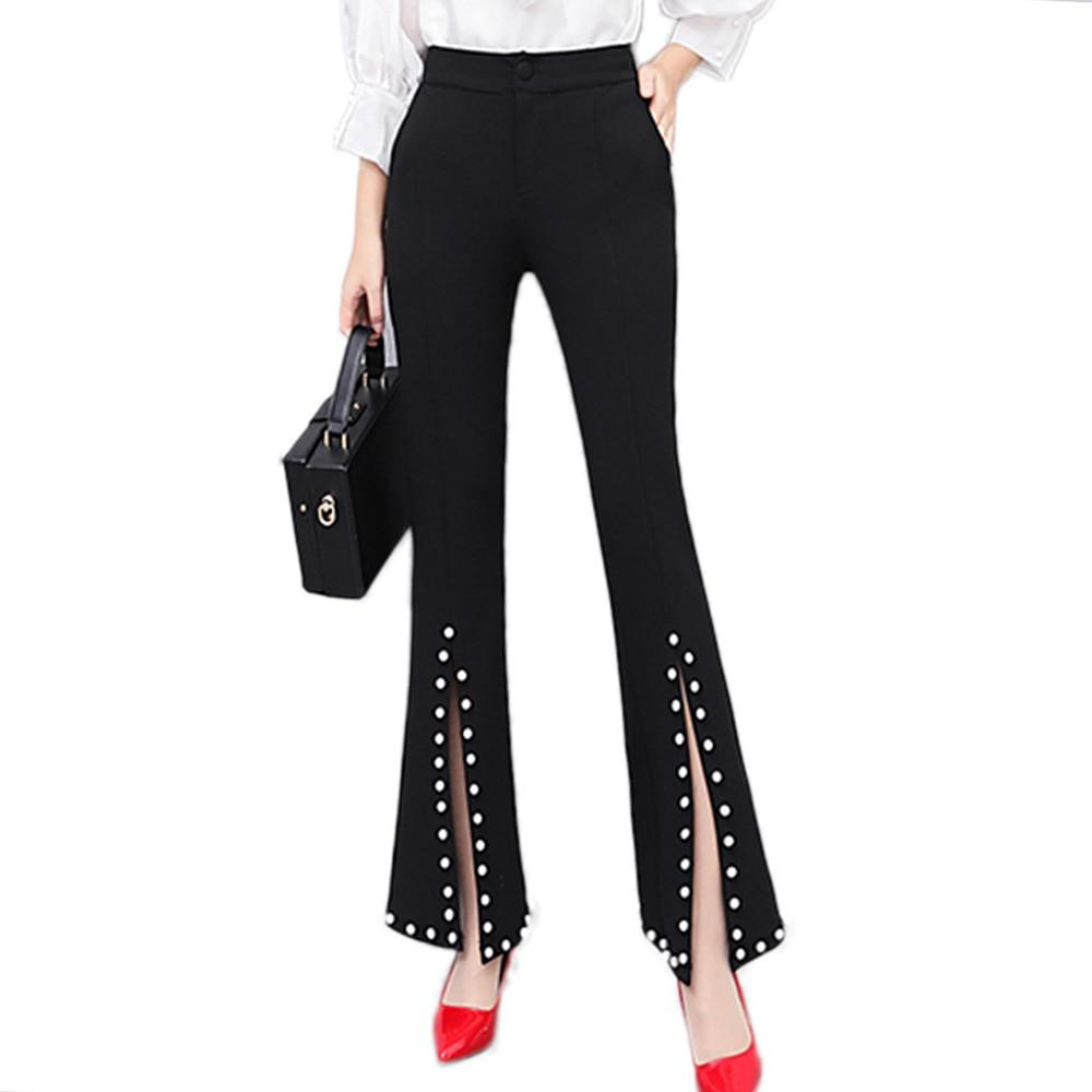 New 2019 Women High Waist Flare Pants Front Split Beaded Pants Female Elegant Slim Casual Pants Fashion Office Pants Pantalon 1