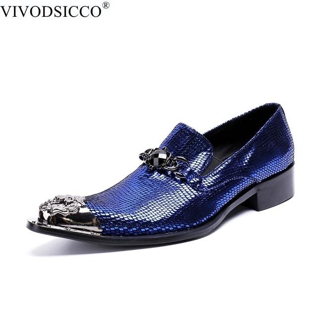 1831d395ab2b VIVODSICCO Fashion Italian Office Men Dress Shoes Blue Patent Leather Men  Shoes Party Wedding Slip on Metal Toes Men Flat Loafer