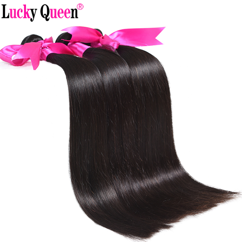 Hair-Bundles Weave Lucky-Queen Straight 100%Human-Hair-Extensions Brazilian Non-Remy