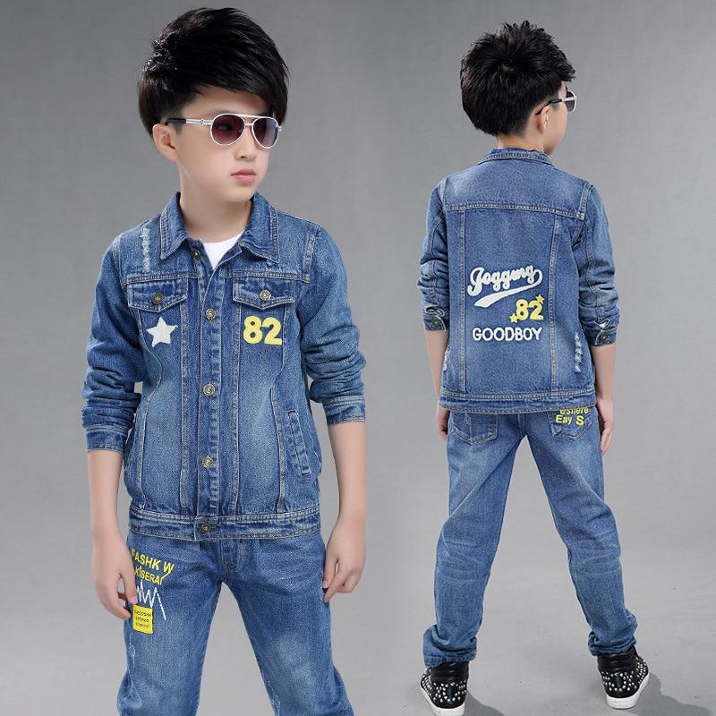 2017 Boy long-sleeved NO. 82 denim two-piece suit children skin-friendly fabrics clothing set