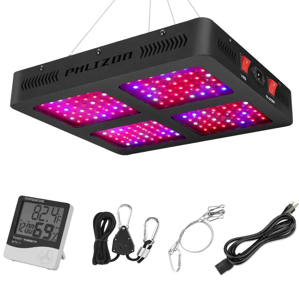 Phlizon Newest 1600W LED Plant Grow Light with Thermometer Humidity Monitor,with Adjustable Rope led growing lights for indoor