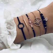 Boho Charm Bracelets for Woman Gold Link Hollow Out Heart Moon Black Bead Cuff Chain Fashion Friendship Bracelet Female Jewelry