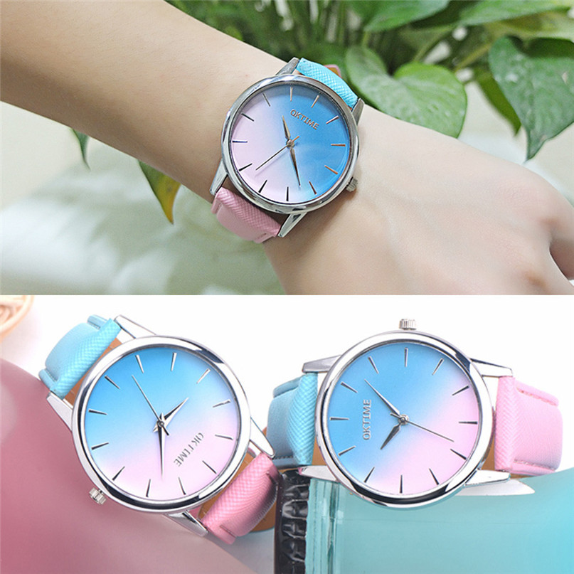 Retro Rainbow Design Leather Band Analog Alloy Quartz Wrist Watch #4A19#F