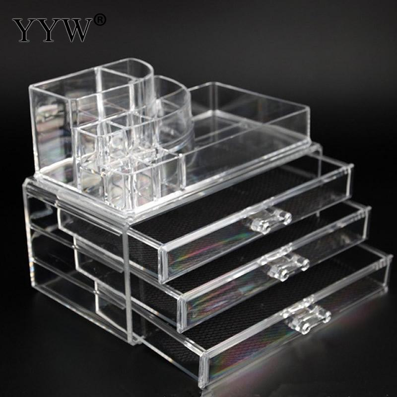 2pcs/Lot Transparent Acrylic Storage Drawer Makeup Organizer Table Jewelry Accessories Storage Box Home Storage Holders cute cat pen holders multifunctional storage wooden cosmetic storage box memo box penholder gift office organizer school supplie