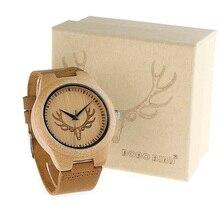 2017 BOBO BIRD Top brand Men's Bamboo Wooden Elk Deer Head Watch Quartz Real Leather Strap Men Watches With Gift Box