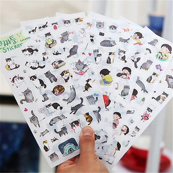 Creative transparent PVC stickers cute black and white cat photo album decorative stickers child DIY toy 6sheets/set