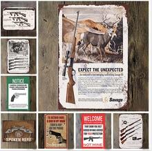 Gun Vintage Tin Sign Bar Pub Home Wall Decor Retro Metal Art Beer Coffee Poster Plate