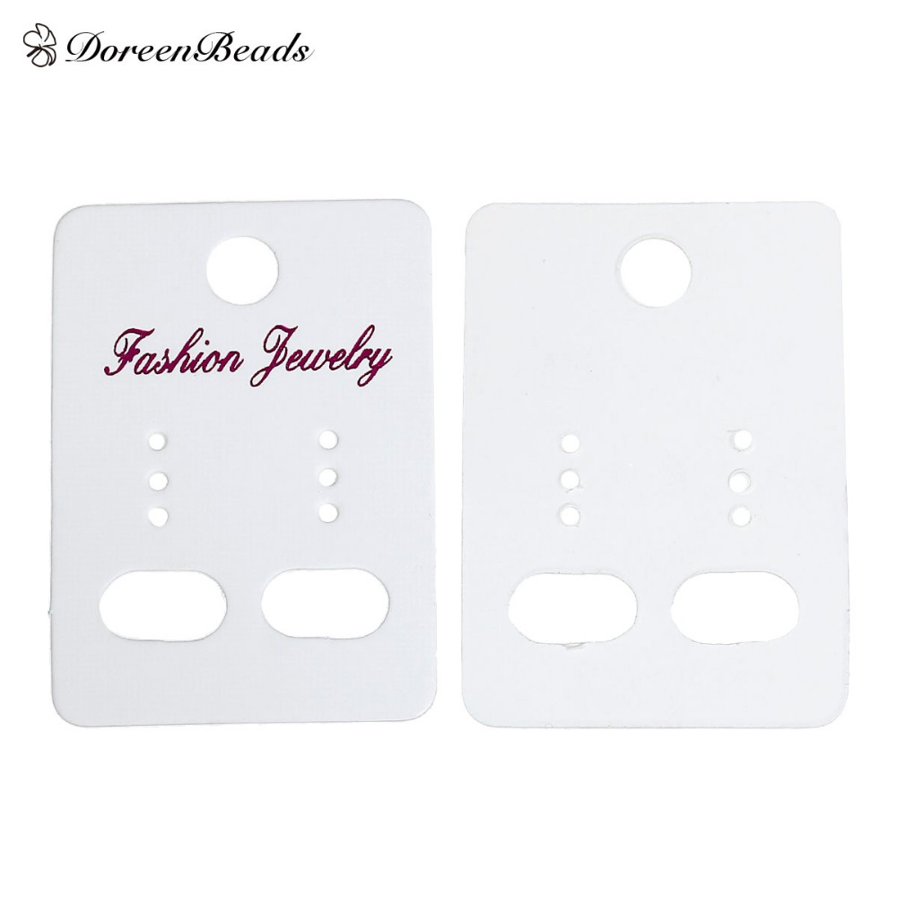 DoreenBeads 100 PCs 45mm x 32mm White Ear Hooks Earring Display Cards ''Fashion Jewelry'' Printed