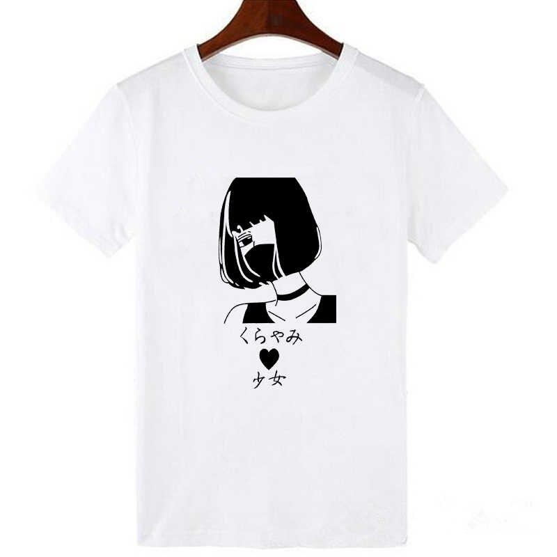 Модные Kawaii Японские Женские футболки с принтом для девочек летние футболки свободного силуэта с короткими рукавами с круглым вырезом повседневная одежда Vogue Tumblr белые футболки топы