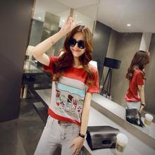 Casual T-shirt O-neck Korean Style Loose Short Sleeve Tops Summer New Arrivals Plus Size Fashion Cartoon Pattern Tee Shirt Femme