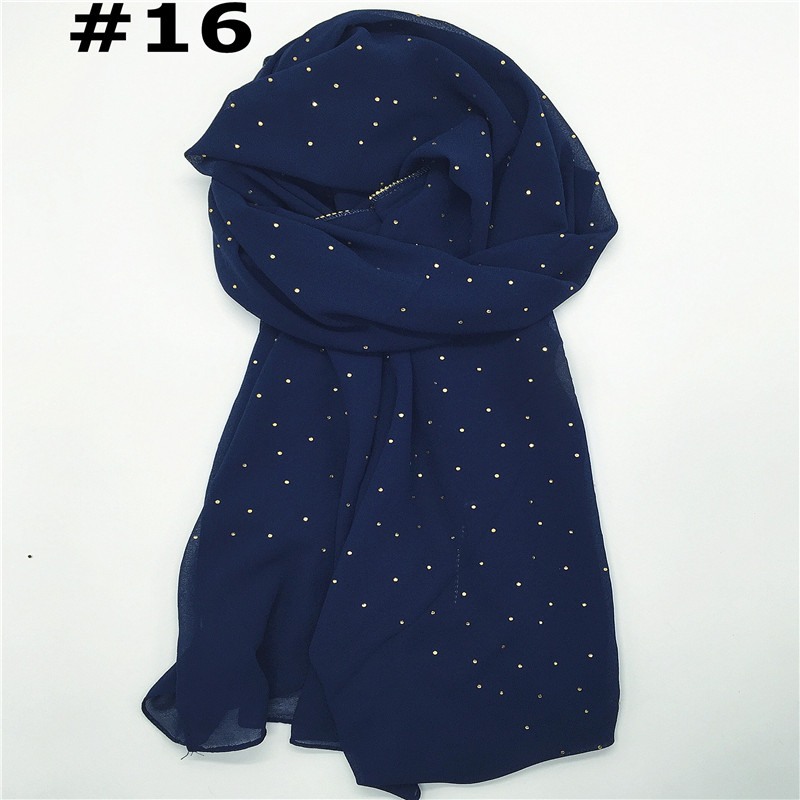 New design luxury codiaeum gold beads border scarf women shawl plain solid chiffon bandana foulard hijab