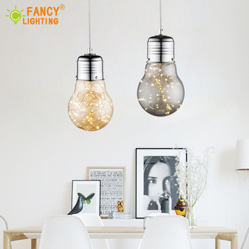 Modern Starry Sky Pendant Light With LED String Light Golden/Smoky Gray Glass Hanglamp for home/Bedroom/Living room Pendant Lamp