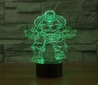 2018 Cartoon character hulk 3D night light USB Energy saving table Lamp Kids Room Led 3D Star Master Room Lamp Children's gifts