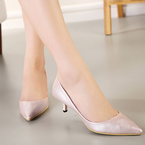 Wedding Shoes Feminine Lady Pumps Shoes Pure Color Ladies Kitten Heel  Pointed-toe Mid Heel af624aee468a